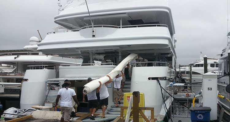 Loading a Yacht Carpet Installation