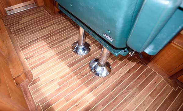 Wheel House Vinyl Flooring Installation with Helm Seat